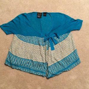 Kersh Turquoise & Cream Knit Tunic Sweater