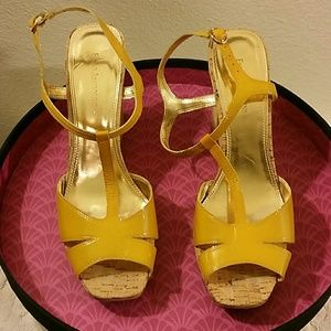 ENZO Patent Leather Wedged Sandals