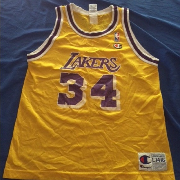 Champion Tops - MAKE OFFER  Vintage Los Angeles Lakers Shaq jersey 150eb25dc