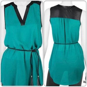 A. Byer Tops - NWT- Green & Black Tunic with Tie-Waist Detail