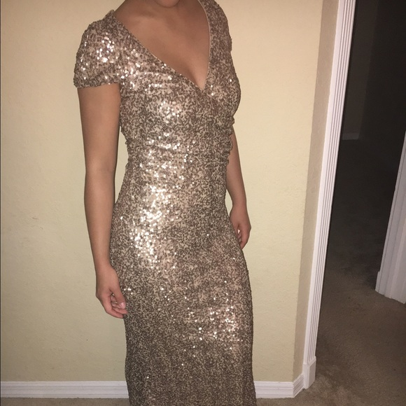 Badgley Mischka Dresses | For Cache Gold Sequin Evening Gown | Poshmark