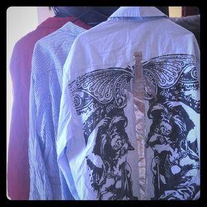 3 Mens collared long sleeve shirt lot