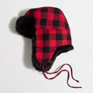 Buffalo check trapper hat black faux lined