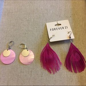Lot of 2 pairs of pink earrings