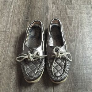 Sperry Top-Sider Shoes - Sperry Gray Metallic Boat Shoes Tennis Casual 6.5