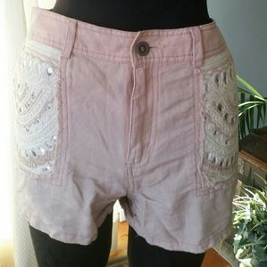 Free People Pants - Free People Blush Pink Embroidered Shorts sz 12