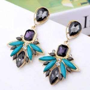 Long Blue grey gold statement earrings jewelry