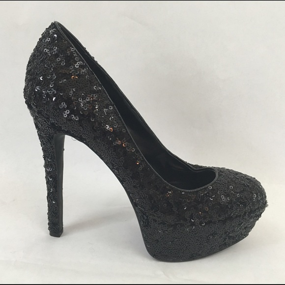 40a4692450a6 Jessica Simpson Shoes - Jessica Simpson Black Sequin Platform Heels Pumps