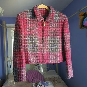 Burberry cropped magenta jacket size 10p
