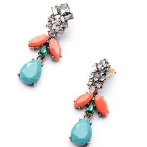 Peach & turquoise statement earrings
