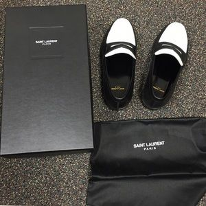 celine black and white loafer knock off