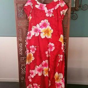 Vintage Red Hawaiian Dress with Drape Back