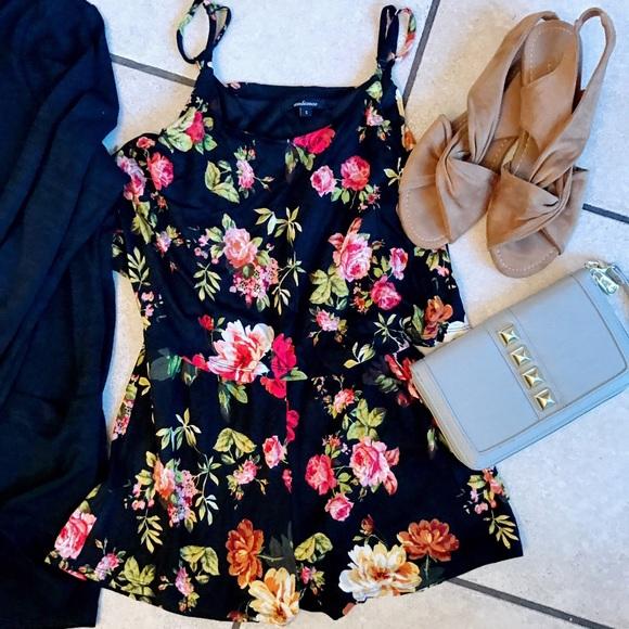 7ecdb875efc6 ambiance Dresses   Skirts - Floral Romper shorts romper black floral romper  sm