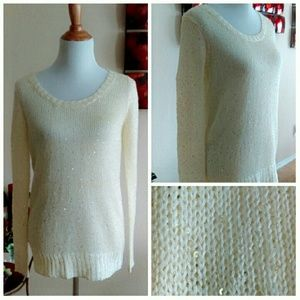 Metaphor Tops - Cream Tunic Knit Top with Gold Sequins
