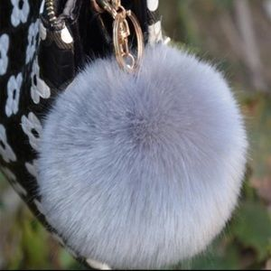 Large grey fur purse handbag poof charm keychain