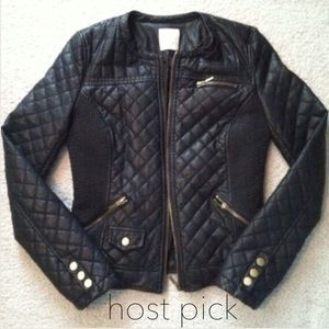 HP Zara Faux Leather Quilted Jacket LIKE NEW