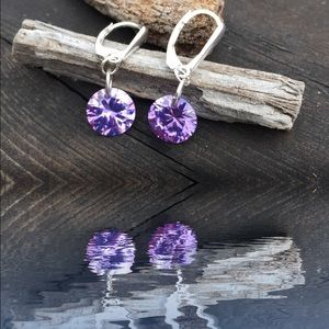 Jewelry - 💜 Sparkly Lavender crystal CZ earrings 10mm💜
