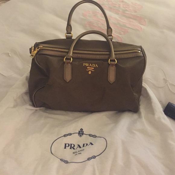c732ac07ca16 Prada olive green nylon handbag. M_56e1f82e7f0a0526a2002bad