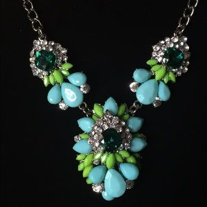 Tiffany Blue Bedazzled Statement Necklace