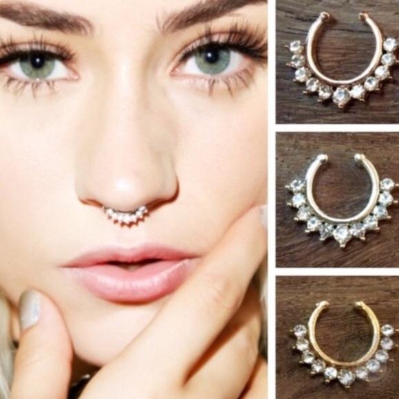Jewelry Fake Nose Piercing Ring With Rhinestones Poshmark