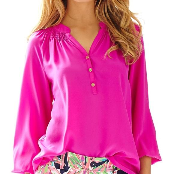 01fa9b1d74e861 Lilly Pulitzer Tops - Lilly Pulitzer hot pink Elsa xs