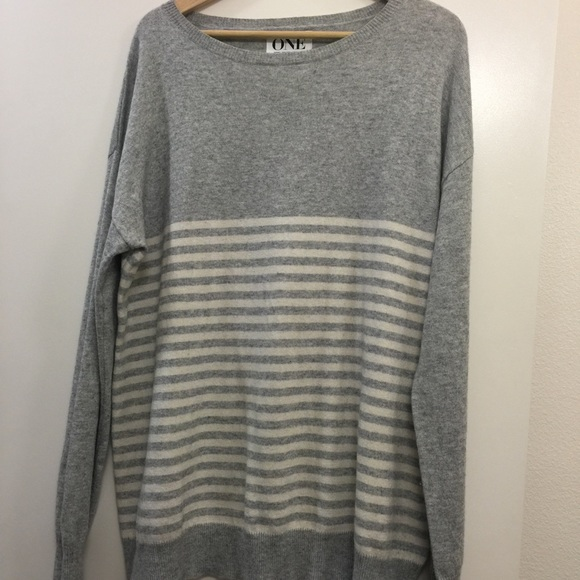 "One Teaspoon Sweaters - One Teaspoon grey striped ""cashmere"" sweater in M"