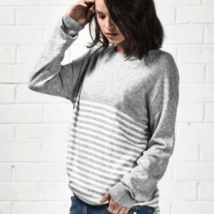 "One Teaspoon grey striped ""cashmere"" sweater in M"