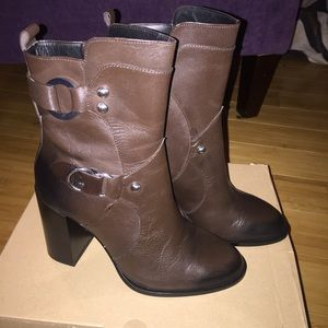 Zara Leather buckle ankle boots