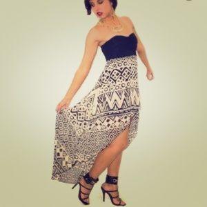 Aztec Strapless Dress
