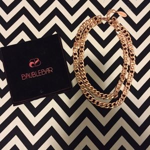 BaubleBar rose gold double curb chain necklace