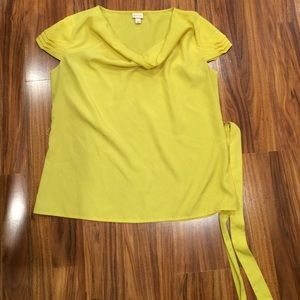 Merona yellow blouse top with belt large L