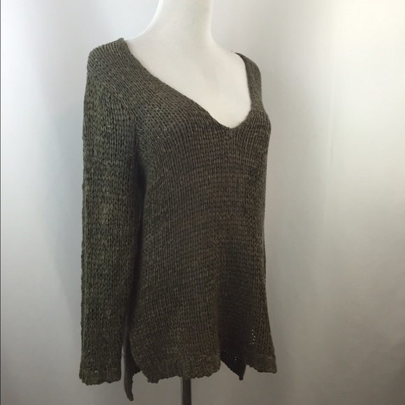408615947 H M Sweaters - H M Army Green V Neck Sweater