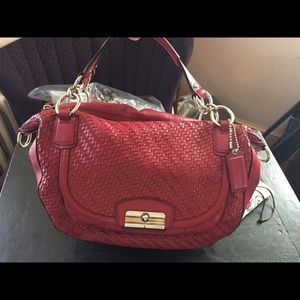 SALE❣ COACH! Red Kristen woven leather satchel.
