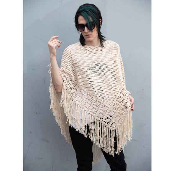 Rue21 Sweaters - 🆕Sand Light Beige Knit Crochet Fringe Poncho Boho