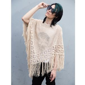 Sand Light Beige Knit Crochet Fringe Poncho Boho