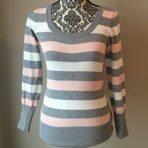 Pink, gray, and white striped sweater. Small