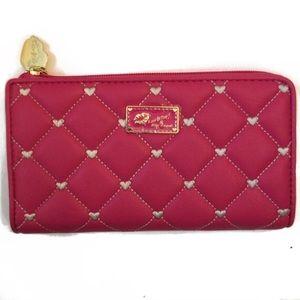 Handbags - Betsey Johnson Pink/White Heart Wallet