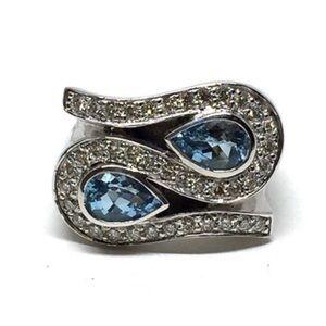 Jewelry - 18K WHITE GOLD BLUE TOPAZ/DIAMOND