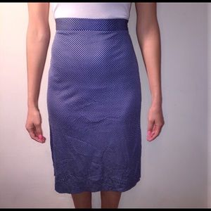 Vintage Polka Dot Blue and White Pencil Skirt