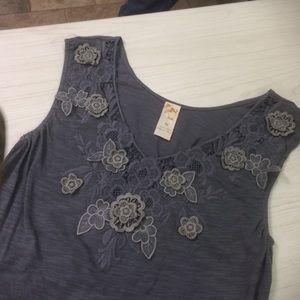 Gray on Gray floral Appliqué sleeveless top