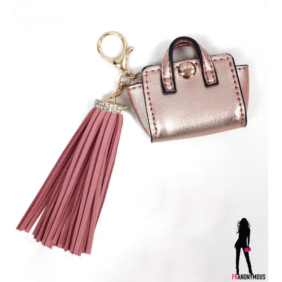 melie bianco tasseled rosegold and pink quot handbag