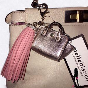 "Melie Bianco Handbags - Tasseled Rosegold and Pink ""Handbag"" Handbag Charm"