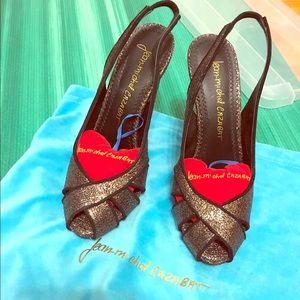 Pewter sparkle slingback heels
