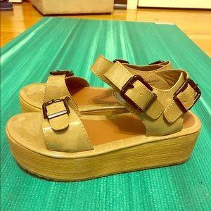 C. Label Shoes - Beige patent flatforms