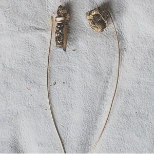 Beltshazzar Jewelry Jewelry - Gold Druzy slide Earrings
