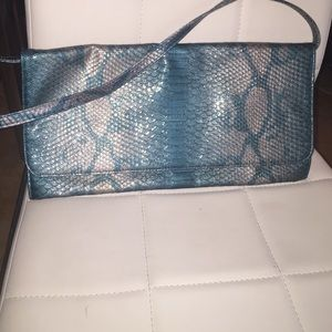 Turquoise snakeskin clutch with removable strap