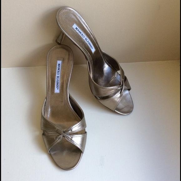 fff4e1cb55846 Manolo Blahnik Shoes | Bronze Tailo Alba Slides | Poshmark