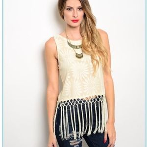 Citrus and Lavender Lane Tops - Boho Beige Fringe Top