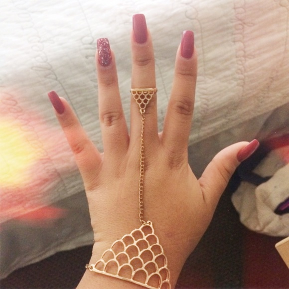 off Jewelry Hand Jewelry Gold Chain💎 bracelet ring