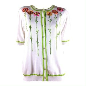 Bob Mackie Sweaters - BOB MACKIE WEARABLE ART SWEATER Enbroidered Floral